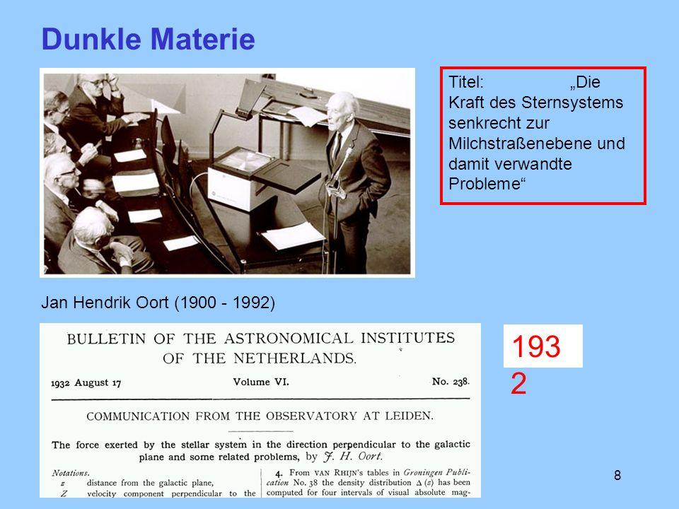 8 Jan Hendrik Oort (1900 - 1992) Dunkle Materie Titel: Die Kraft des Sternsystems senkrecht zur Milchstraßenebene und damit verwandte Probleme 193 2