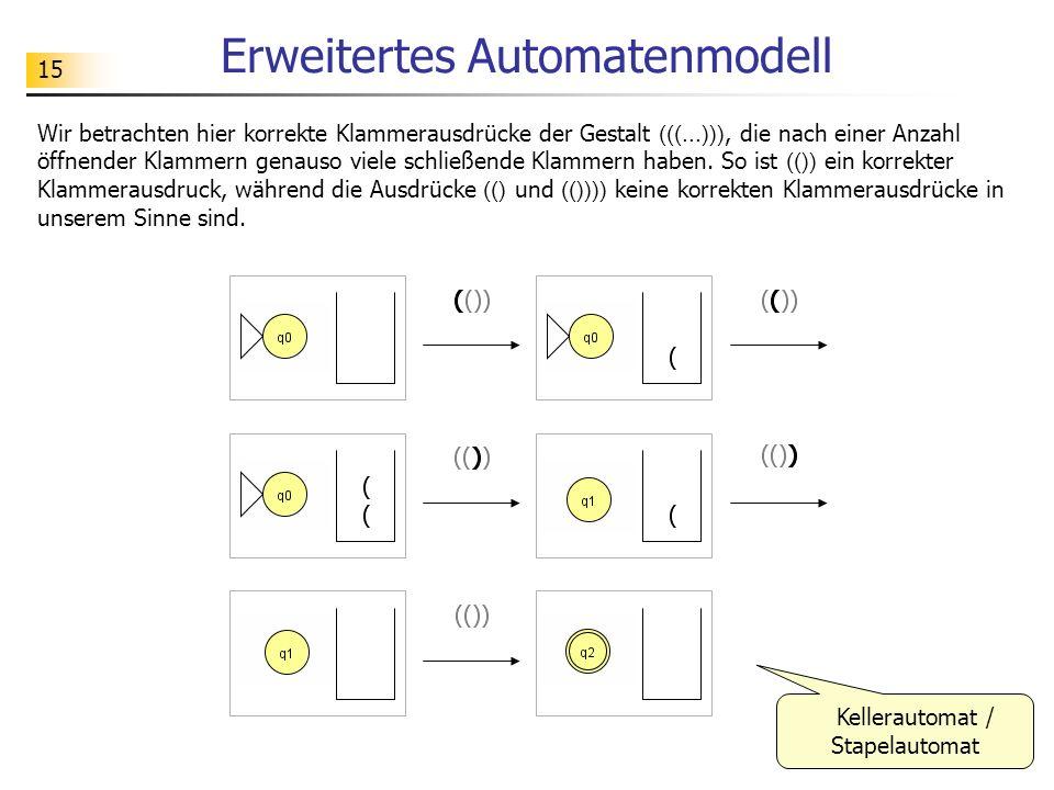 15 Erweitertes Automatenmodell Wir betrachten hier korrekte Klammerausdrücke der Gestalt (((...))), die nach einer Anzahl öffnender Klammern genauso v