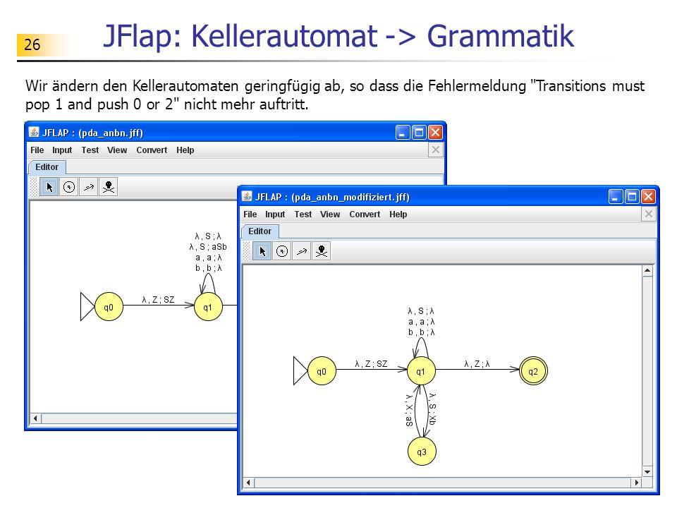 26 JFlap: Kellerautomat -> Grammatik Wir ändern den Kellerautomaten geringfügig ab, so dass die Fehlermeldung