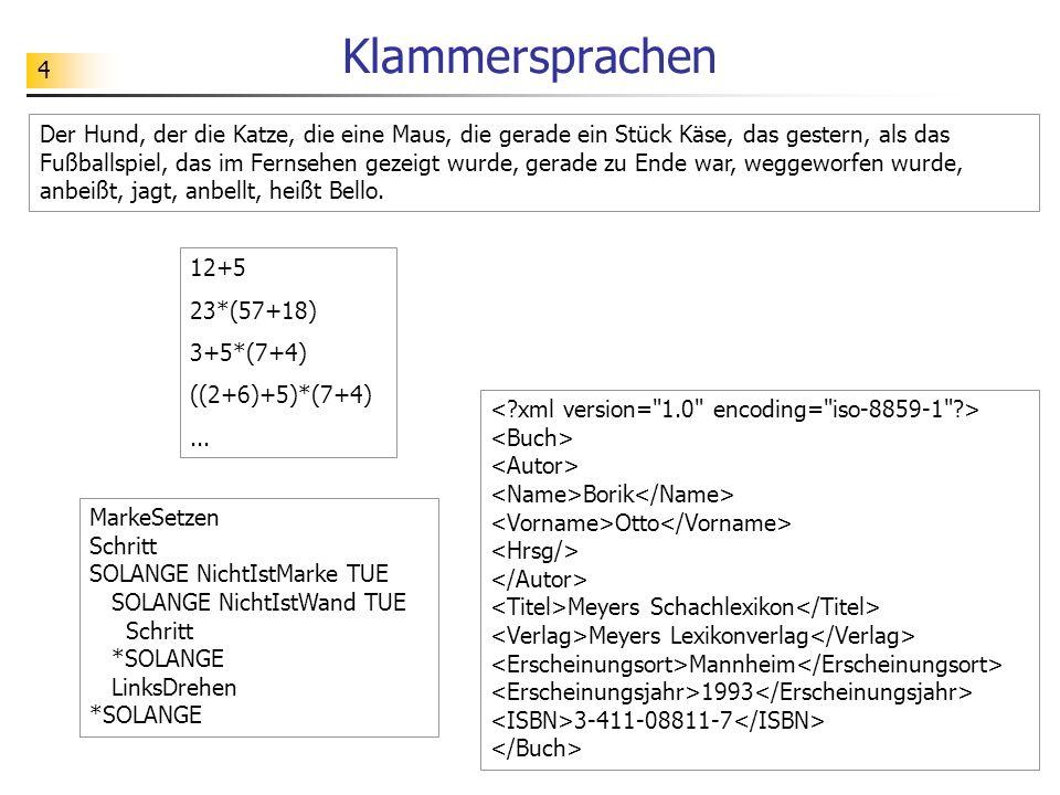 25 JFlap: Kellerautomat -> Grammatik Wir betrachten einen Kellerautomaten zur Erkennung der Sprache L ab = {a n b n   n = 1, 2, 3,...} der Klammerausdrücke.