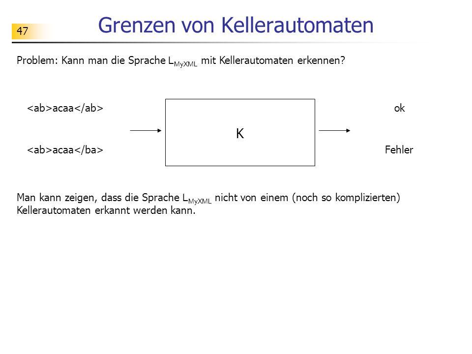 47 Grenzen von Kellerautomaten Problem: Kann man die Sprache L MyXML mit Kellerautomaten erkennen? K ok acaa Fehler acaa Man kann zeigen, dass die Spr