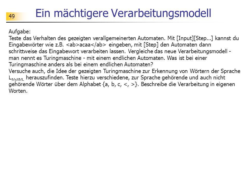 49 Ein mächtigere Verarbeitungsmodell Aufgabe: Teste das Verhalten des gezeigten verallgemeinerten Automaten. Mit [Input][Step...] kannst du Eingabewö