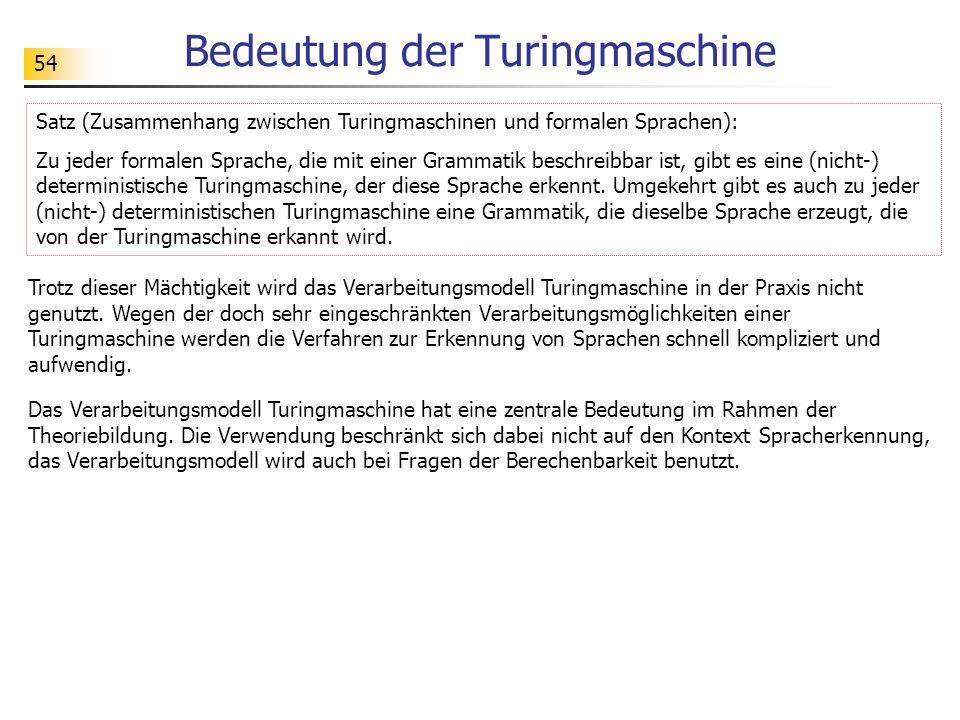 54 Bedeutung der Turingmaschine Trotz dieser Mächtigkeit wird das Verarbeitungsmodell Turingmaschine in der Praxis nicht genutzt. Wegen der doch sehr