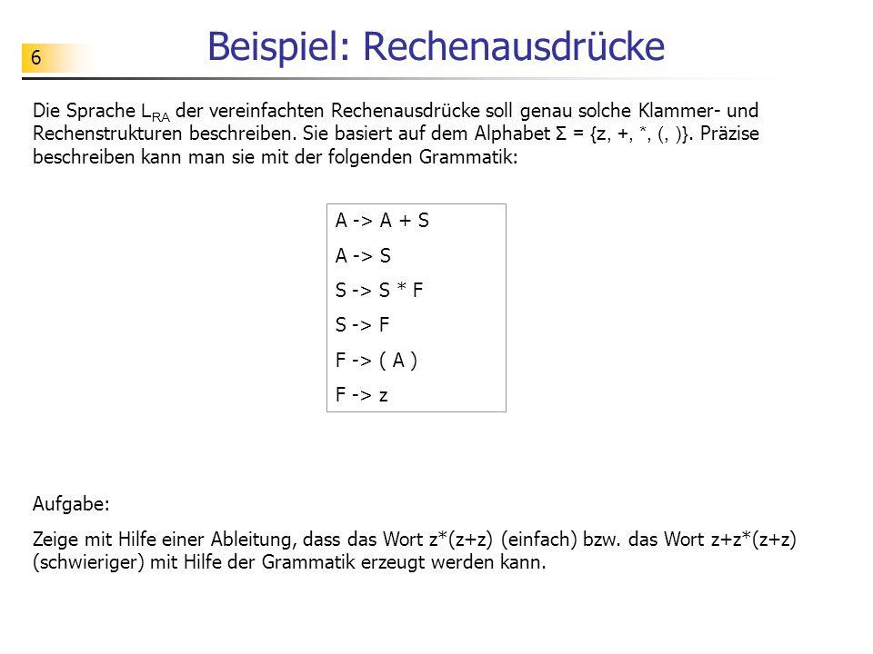 37 Rechtsableitung eines Wortes A reduce by A -> A+S -> A+S reduce by S -> S*F -> A+S*F reduce by F -> (A) -> A+S*(A) reduce by A -> A+S -> A+S*(A+S) reduce by S -> F -> A+S*(A+F) reduce by F -> z -> A+S*(A+z) reduce by A -> S -> A+S*(S+z) reduce by S -> F -> A+S*(F+z) reduce by F -> z -> A+S*(z+z) reduce by S -> F -> A+F*(z+z) reduce by F -> z -> A+z*(z+z) reduce by A -> S -> S+z*(z+z) reduce by S -> F -> F+z*(z+z) reduce by F -> z -> z+z*(z+z) Die gezeigte Ableitung ist eine sogenannte Rechtsableitung.