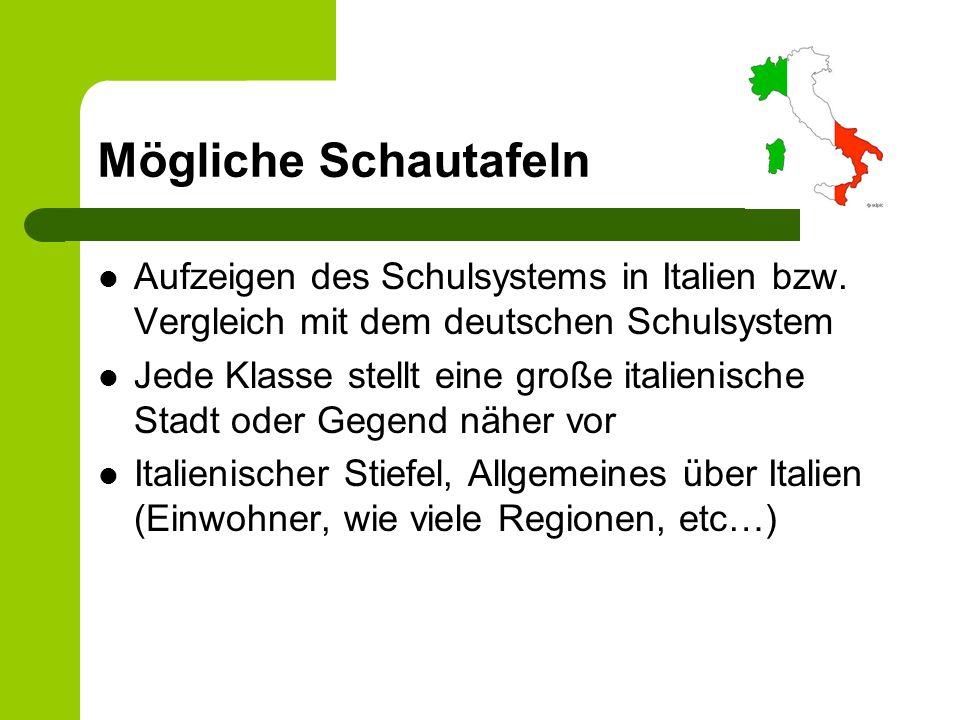 Mögliche Schautafeln Aufzeigen des Schulsystems in Italien bzw. Vergleich mit dem deutschen Schulsystem Jede Klasse stellt eine große italienische Sta