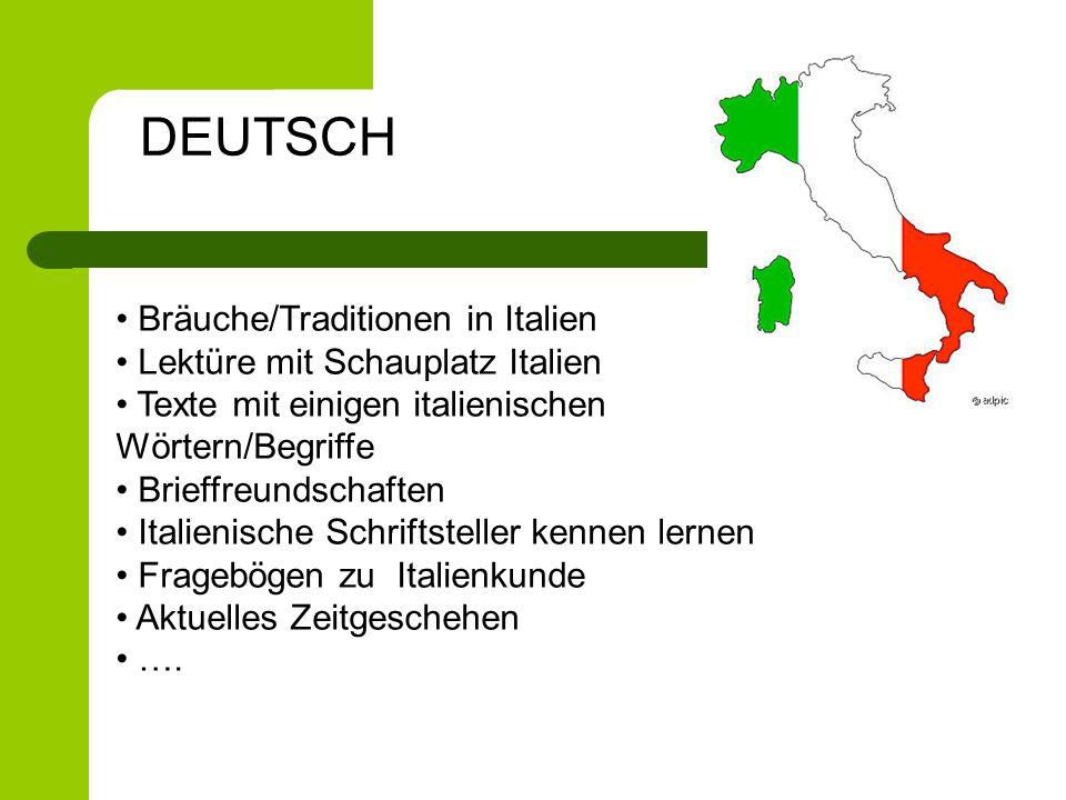 Bräuche/Traditionen in Italien Lektüre mit Schauplatz Italien Texte mit einigen italienischen Wörtern/Begriffe Brieffreundschaften Italienische Schrif