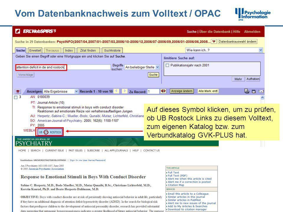 Vom Datenbanknachweis zum Volltext / OPAC Auf dieses Symbol klicken, um zu prüfen, ob UB Rostock Links zu diesem Volltext, zum eigenen Katalog bzw. zu