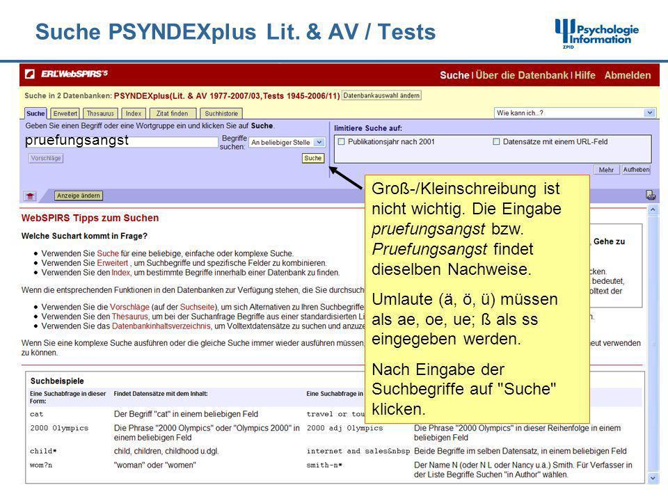 Suche PSYNDEXplus Lit. & AV / Tests pruefungsangst Groß-/Kleinschreibung ist nicht wichtig. Die Eingabe pruefungsangst bzw. Pruefungsangst findet dies