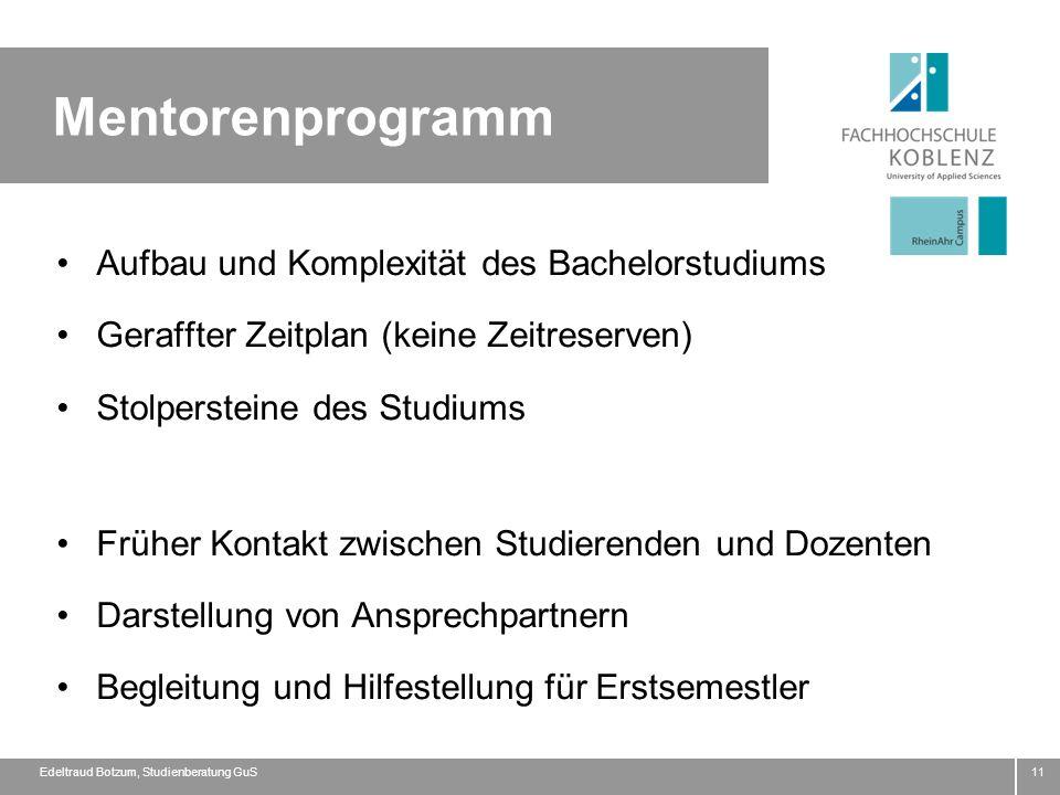 Mentorenprogramm Aufbau und Komplexität des Bachelorstudiums Geraffter Zeitplan (keine Zeitreserven) Stolpersteine des Studiums Früher Kontakt zwische