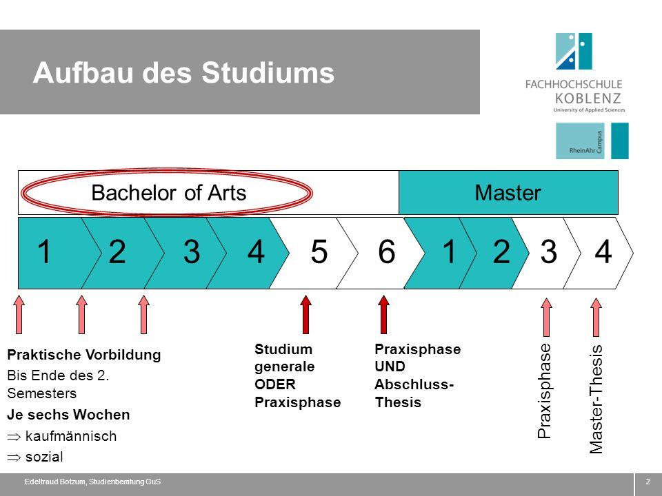 Aufbau des Studiums 2 Bachelor of ArtsMaster Praktische Vorbildung Bis Ende des 2. Semesters Je sechs Wochen kaufmännisch sozial 3 2 1 6 5 4 321 Studi