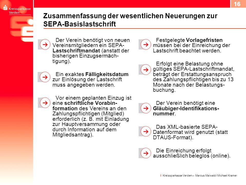 17 I Kreissparkasse Verden – Marcus Maiwald / Michael Kramer Wichtige Handlungsfelder Gläubiger-ID bei der Bundesbank beantragen.