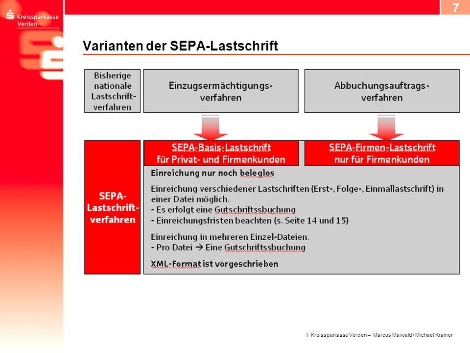 8 I Kreissparkasse Verden – Marcus Maiwald / Michael Kramer Das SEPA-Lastschriftmandat I Ermächtigt den Zahlungsempfänger, den fälligen Betrag vom Konto des Zahlungspflichtigen einzuziehen.
