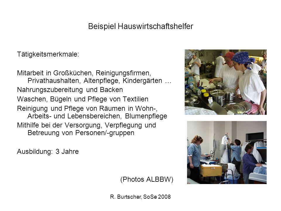R. Burtscher, SoSe 2008 Beispiel Hauswirtschaftshelfer Tätigkeitsmerkmale: Mitarbeit in Großküchen, Reinigungsfirmen, Privathaushalten, Altenpflege, K