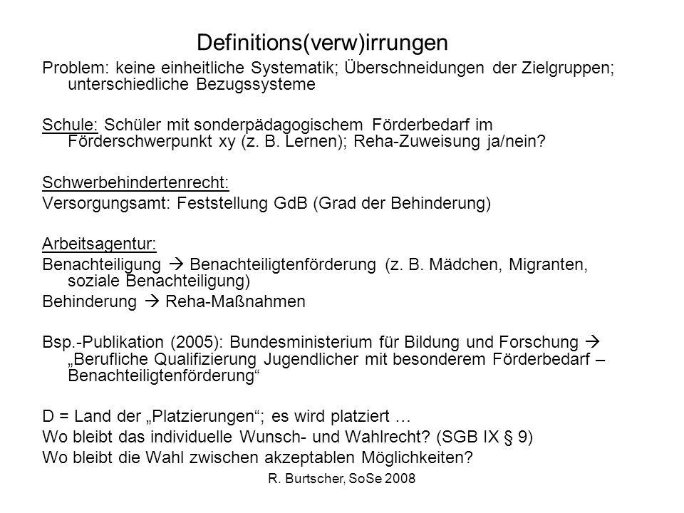 R. Burtscher, SoSe 2008 Definitions(verw)irrungen Problem: keine einheitliche Systematik; Überschneidungen der Zielgruppen; unterschiedliche Bezugssys