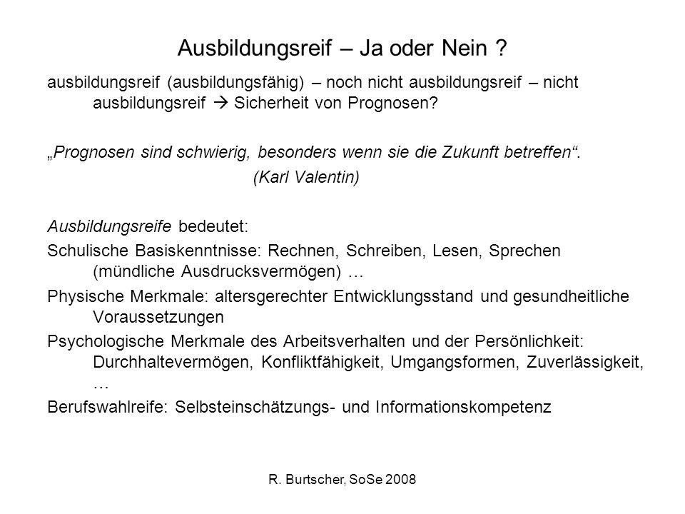 R. Burtscher, SoSe 2008 Ausbildungsreif – Ja oder Nein ? ausbildungsreif (ausbildungsfähig) – noch nicht ausbildungsreif – nicht ausbildungsreif Siche