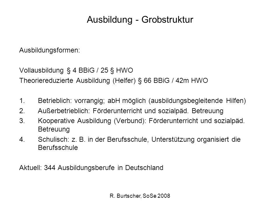R. Burtscher, SoSe 2008 Ausbildung - Grobstruktur Ausbildungsformen: Vollausbildung § 4 BBiG / 25 § HWO Theoriereduzierte Ausbildung (Helfer) § 66 BBi