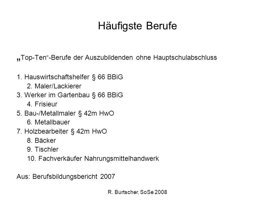 R. Burtscher, SoSe 2008 Häufigste Berufe Top-Ten-Berufe der Auszubildenden ohne Hauptschulabschluss 1. Hauswirtschaftshelfer § 66 BBiG 2. Maler/Lackie