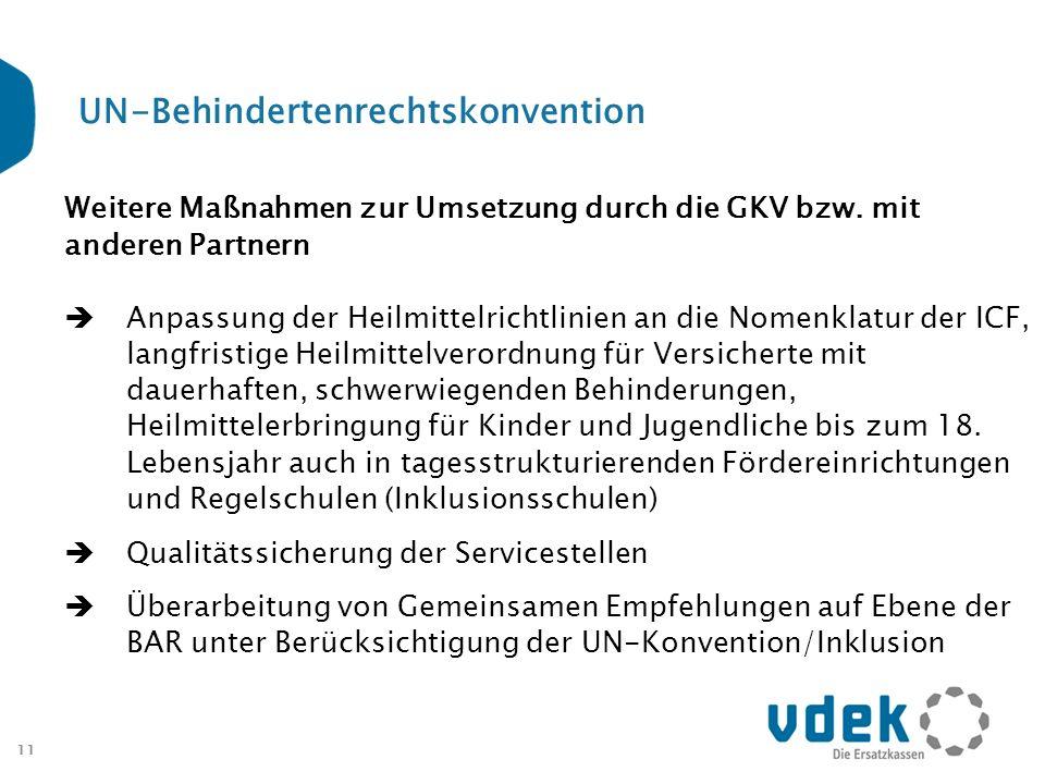 11 UN-Behindertenrechtskonvention Weitere Maßnahmen zur Umsetzung durch die GKV bzw. mit anderen Partnern Anpassung der Heilmittelrichtlinien an die N