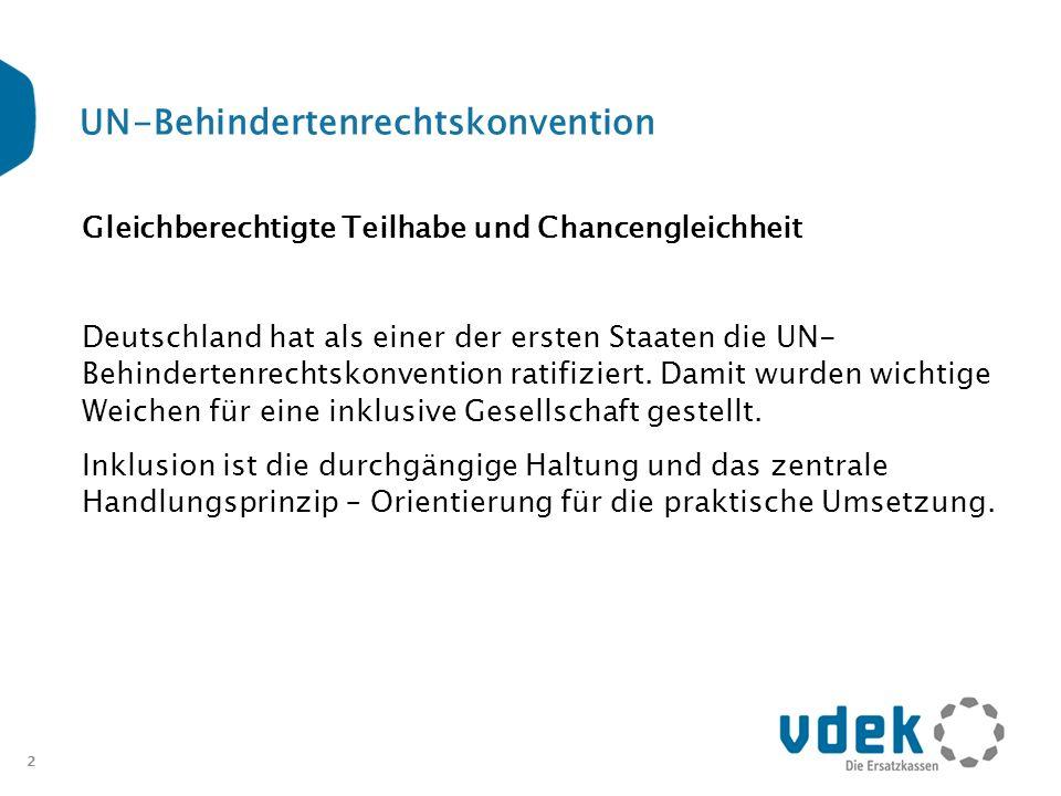 2 UN-Behindertenrechtskonvention Gleichberechtigte Teilhabe und Chancengleichheit Deutschland hat als einer der ersten Staaten die UN- Behindertenrech