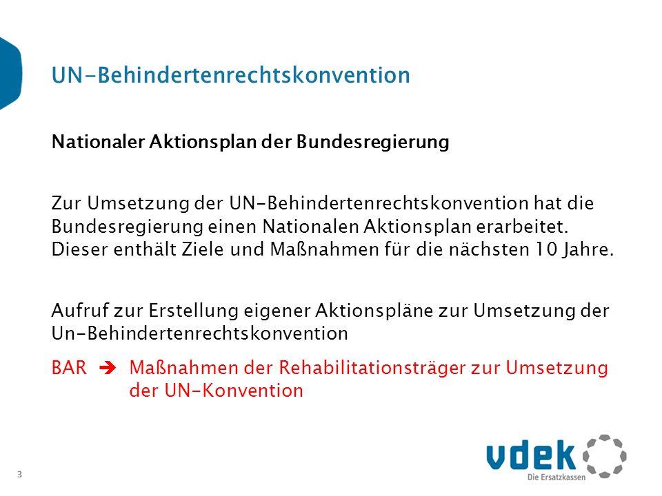 3 UN-Behindertenrechtskonvention Nationaler Aktionsplan der Bundesregierung Zur Umsetzung der UN-Behindertenrechtskonvention hat die Bundesregierung e