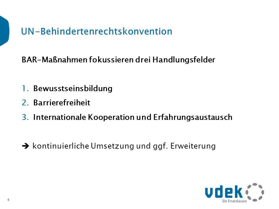 4 UN-Behindertenrechtskonvention BAR-Maßnahmen fokussieren drei Handlungsfelder 1.Bewusstseinsbildung 2.Barrierefreiheit 3.Internationale Kooperation