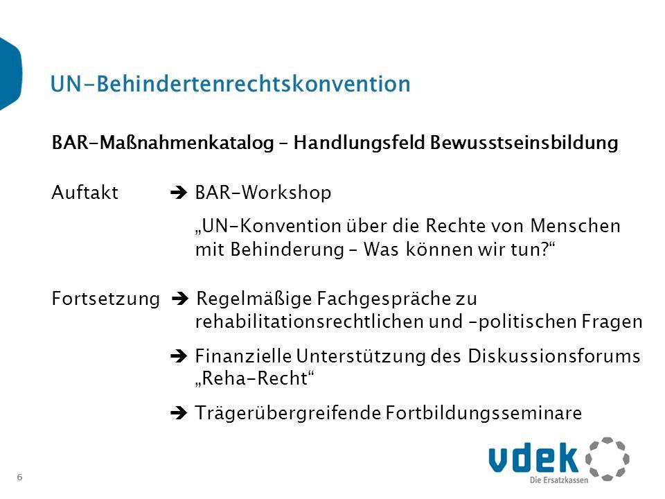 6 UN-Behindertenrechtskonvention BAR-Maßnahmenkatalog – Handlungsfeld Bewusstseinsbildung Auftakt BAR-Workshop UN-Konvention über die Rechte von Mensc