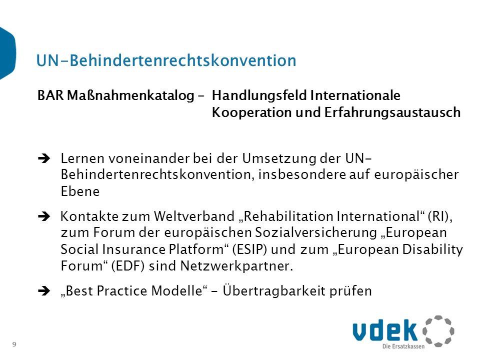 10 UN-Behindertenrechtskonvention Weitere Maßnahmen zur Umsetzung durch die GKV bzw.