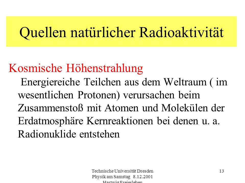 Technische Universität Dresden Physik am Samstag 8.12.2001 Hartwig Freiesleben 12 NuklidHäufigkeitHalbwertzeit 40 K0,0117 % 1,277 10 9 a 232 Th100 % 1