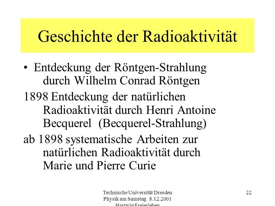 Technische Universität Dresden Physik am Samstag 8.12.2001 Hartwig Freiesleben 21 Gebiete hoher Strahlendosis