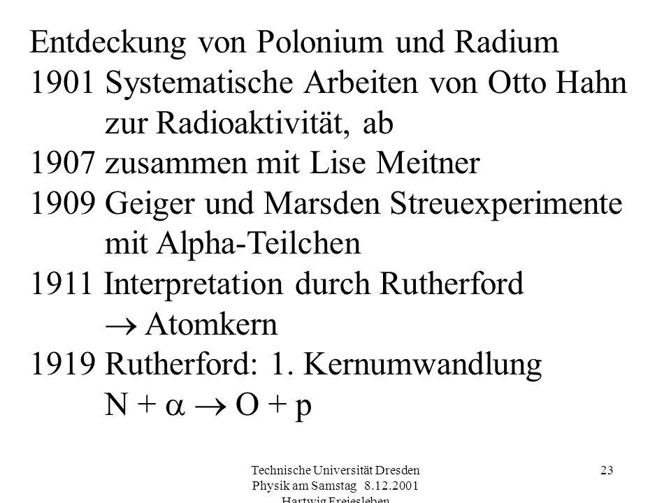 Technische Universität Dresden Physik am Samstag 8.12.2001 Hartwig Freiesleben 22 Geschichte der Radioaktivität Entdeckung der Röntgen-Strahlung durch