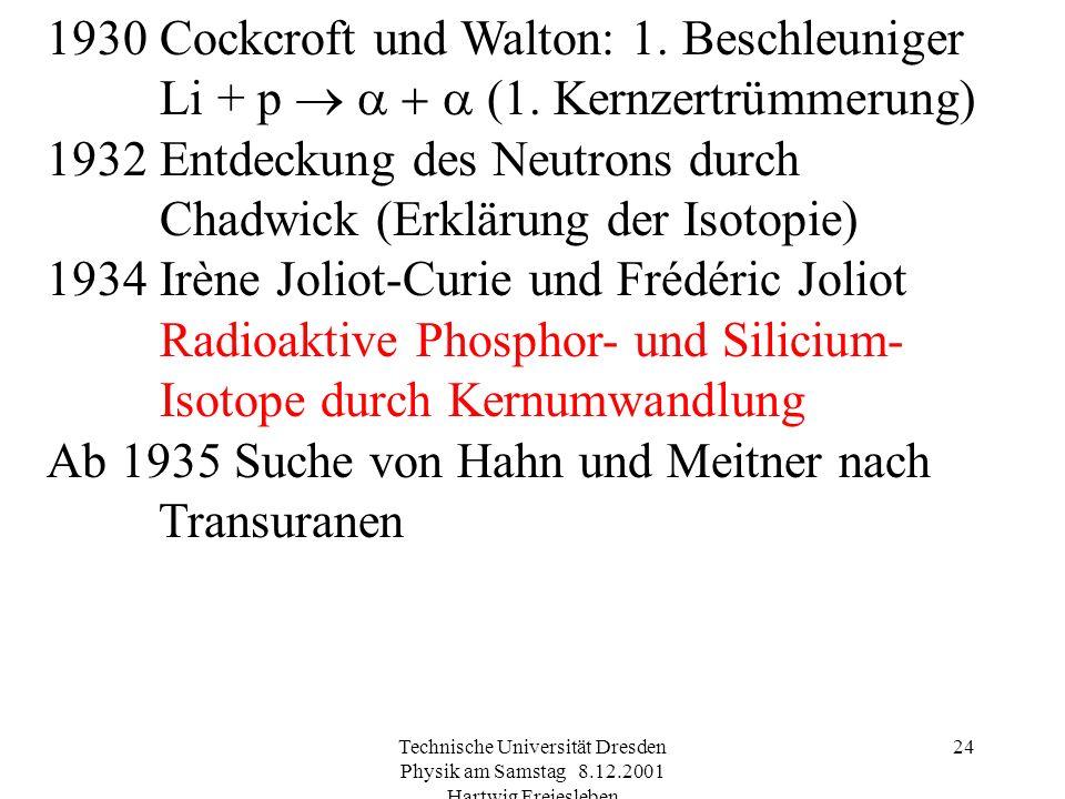 Technische Universität Dresden Physik am Samstag 8.12.2001 Hartwig Freiesleben 23 Entdeckung von Polonium und Radium 1901 Systematische Arbeiten von O