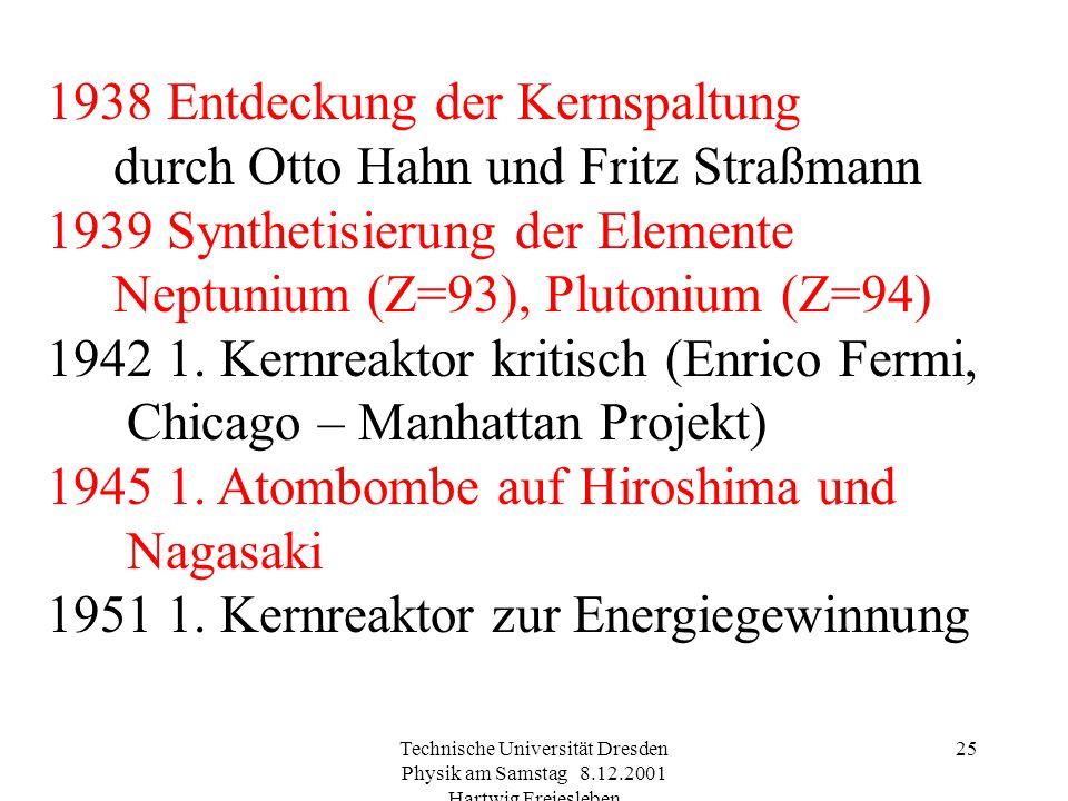 Technische Universität Dresden Physik am Samstag 8.12.2001 Hartwig Freiesleben 24 1930 Cockcroft und Walton: 1. Beschleuniger Li + p (1. Kernzertrümme