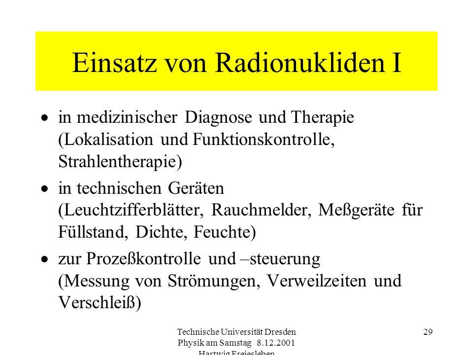 Technische Universität Dresden Physik am Samstag 8.12.2001 Hartwig Freiesleben 28 Radionuklide im menschlichen K örper NuklidSpeicherorganT 1/2 (phys.