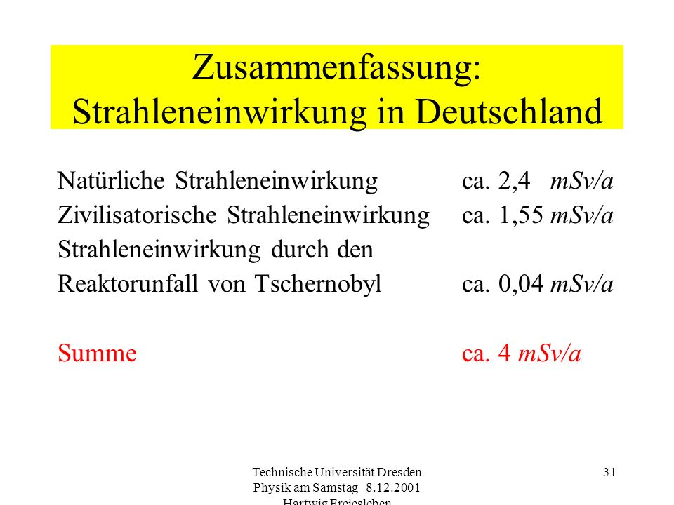 Technische Universität Dresden Physik am Samstag 8.12.2001 Hartwig Freiesleben 30 Einsatz von Radionukliden II zur Sterilisierung im medizinischen Ber