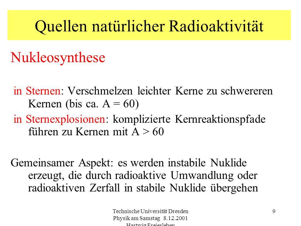 Technische Universität Dresden Physik am Samstag 8.12.2001 Hartwig Freiesleben 9 Quellen natürlicher Radioaktivität Nukleosynthese in Sternen: Verschmelzen leichter Kerne zu schwereren Kernen (bis ca.