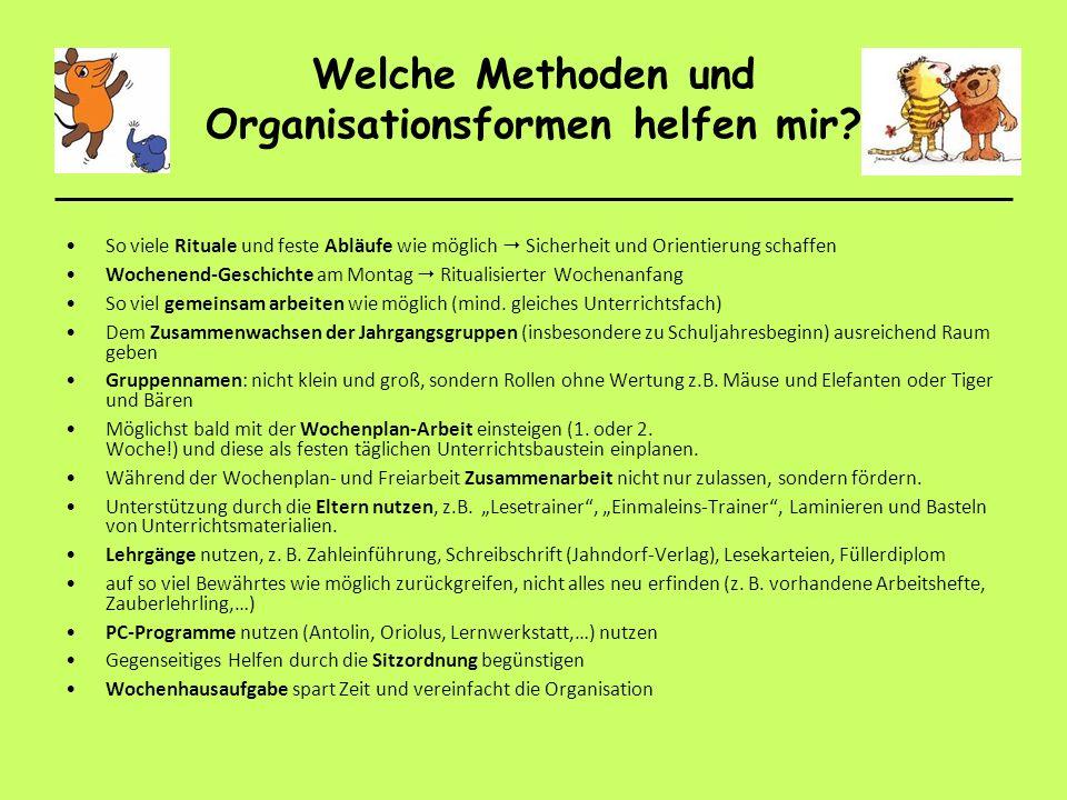 Welche Methoden und Organisationsformen helfen mir? So viele Rituale und feste Abläufe wie möglich Sicherheit und Orientierung schaffen Wochenend-Gesc