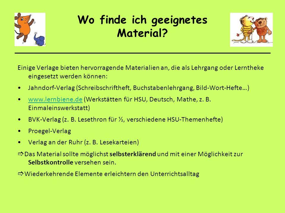 Wo finde ich geeignetes Material? Einige Verlage bieten hervorragende Materialien an, die als Lehrgang oder Lerntheke eingesetzt werden können: Jahndo