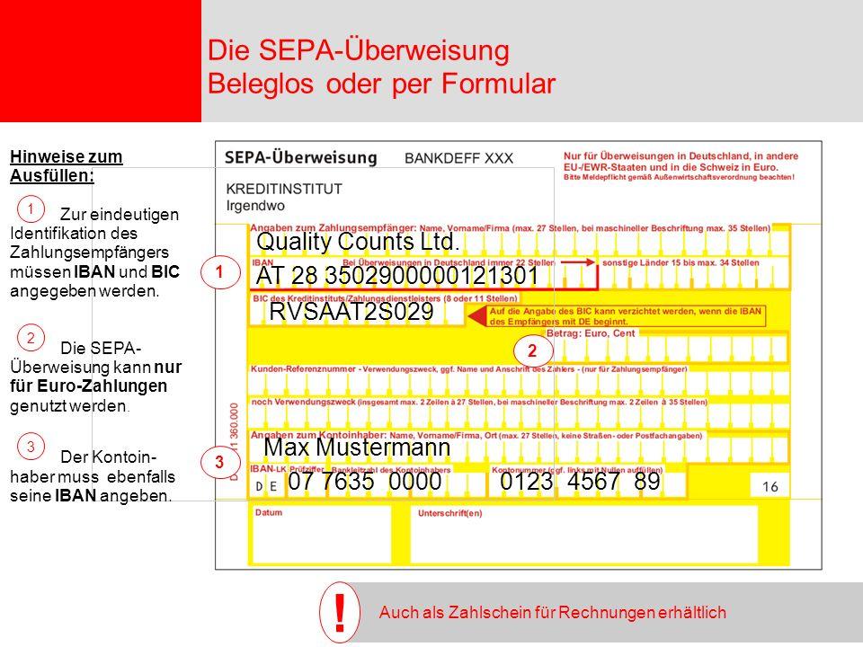 Seite 9 07 7635 0000 0123 4567 89 Max Mustermann Quality Counts Ltd.