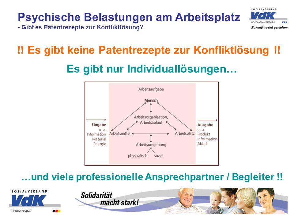 !! Es gibt keine Patentrezepte zur Konfliktlösung !! Psychische Belastungen am Arbeitsplatz - Gibt es Patentrezepte zur Konfliktlösung? Es gibt nur In