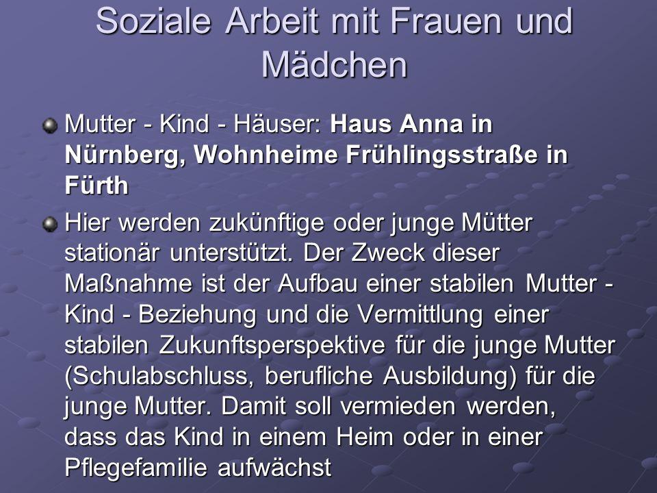 Soziale Arbeit mit Frauen und Mädchen Mutter - Kind - Häuser: Haus Anna in Nürnberg, Wohnheime Frühlingsstraße in Fürth Hier werden zukünftige oder ju