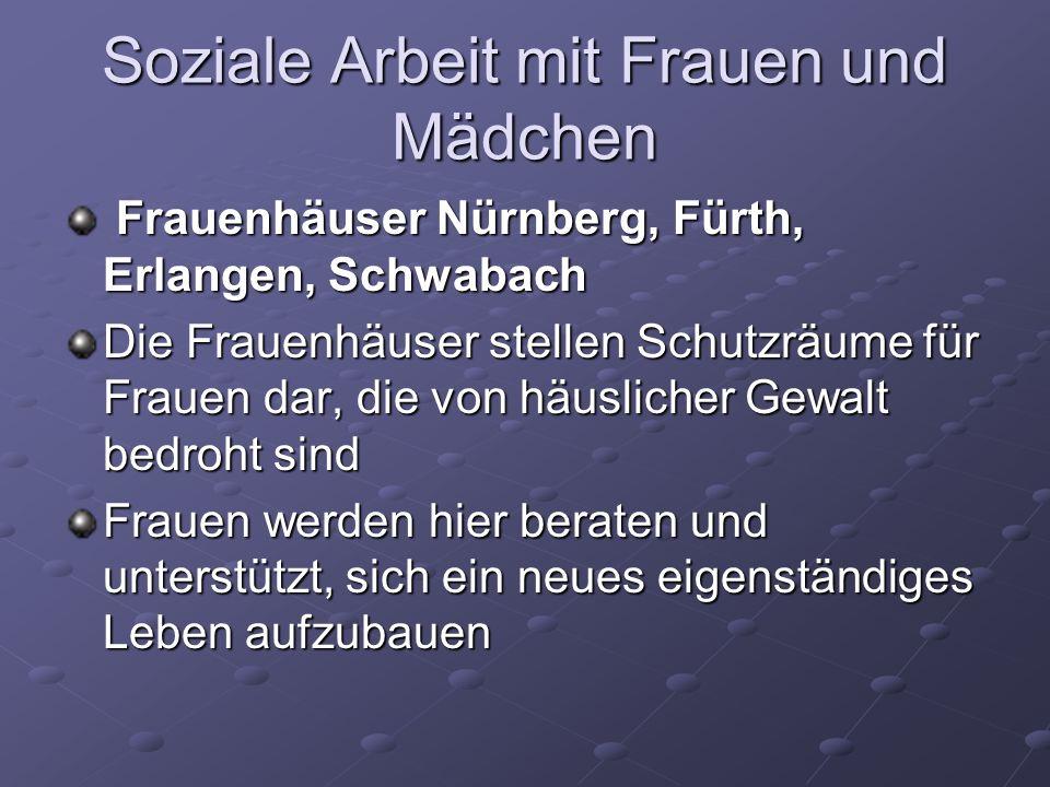 Soziale Arbeit mit Frauen und Mädchen Frauenhäuser Nürnberg, Fürth, Erlangen, Schwabach Frauenhäuser Nürnberg, Fürth, Erlangen, Schwabach Die Frauenhä