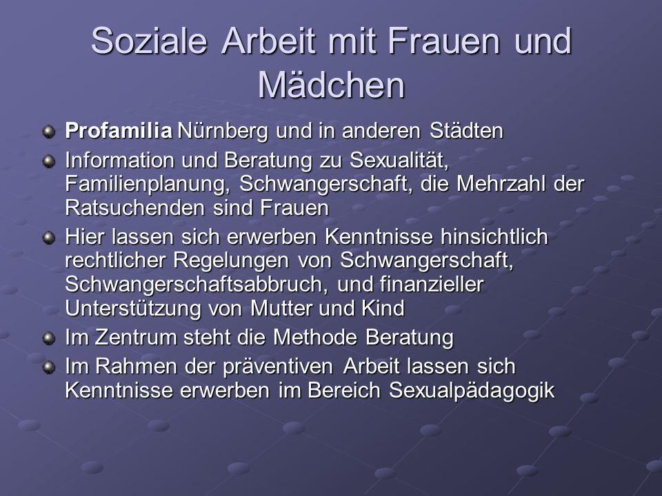 Soziale Arbeit mit Frauen und Mädchen Profamilia Nürnberg und in anderen Städten Information und Beratung zu Sexualität, Familienplanung, Schwangersch