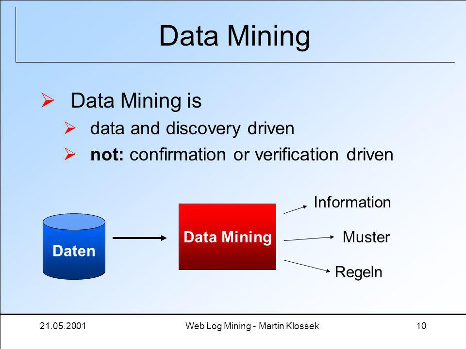 21.05.2001Web Log Mining - Martin Klossek10 Data Mining Data Mining is data and discovery driven not: confirmation or verification driven Data Mining