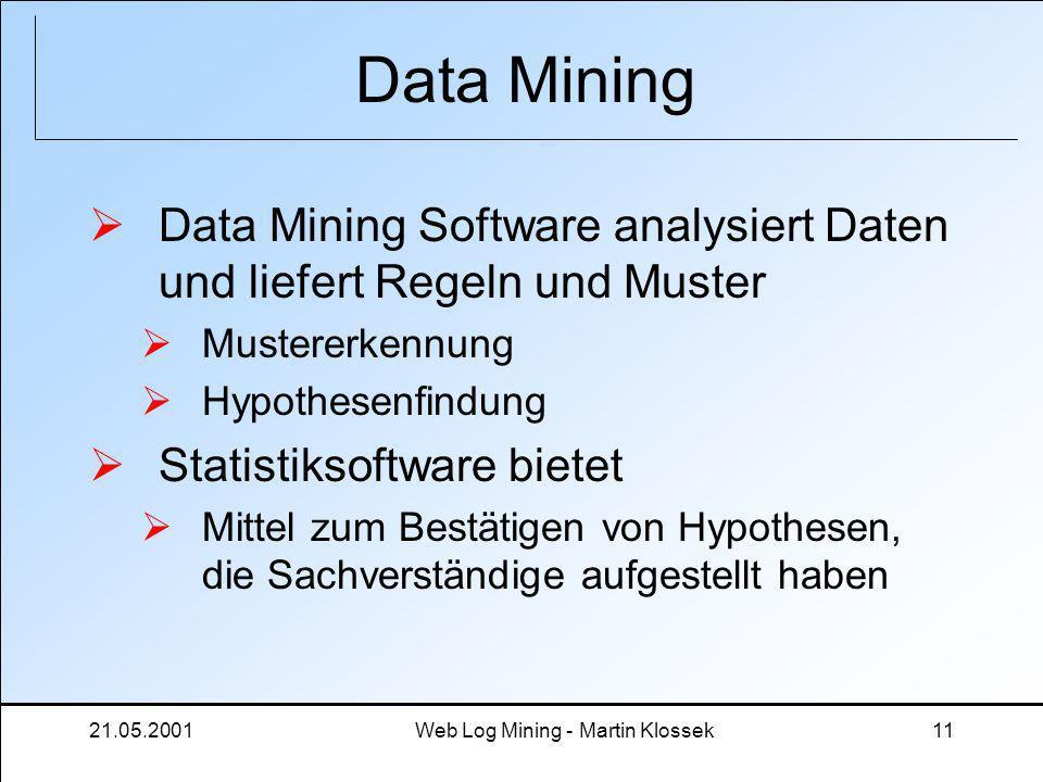 21.05.2001Web Log Mining - Martin Klossek11 Data Mining Data Mining Software analysiert Daten und liefert Regeln und Muster Mustererkennung Hypothesen