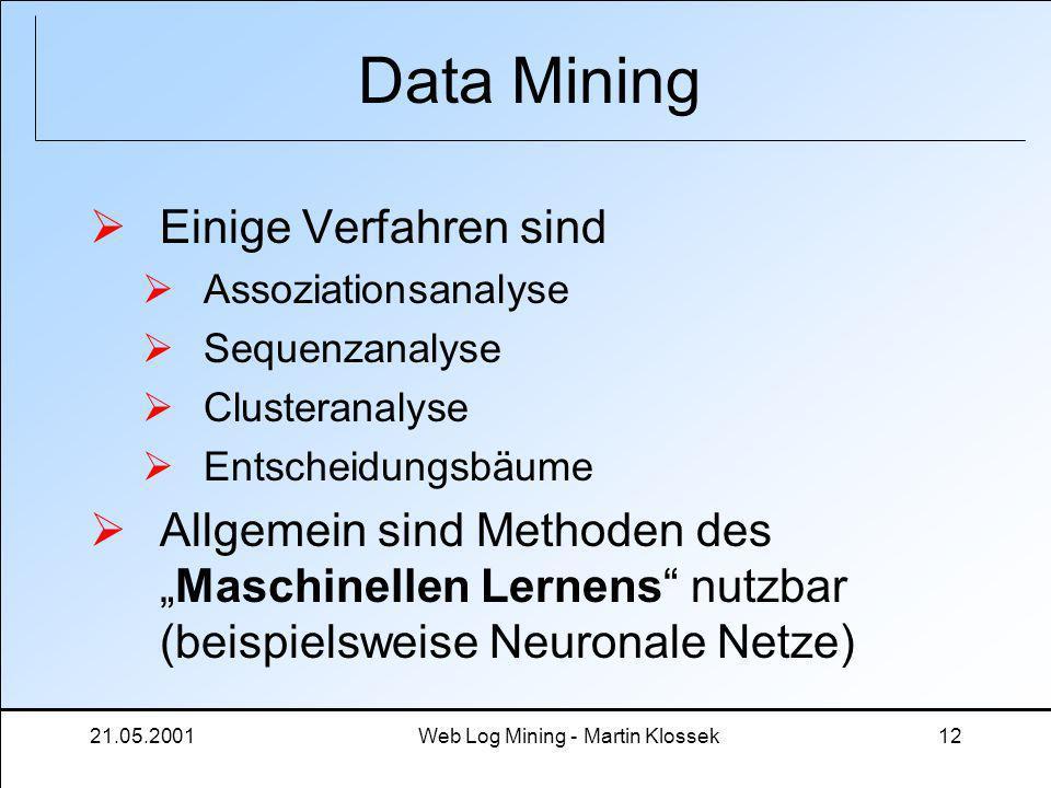 21.05.2001Web Log Mining - Martin Klossek12 Data Mining Einige Verfahren sind Assoziationsanalyse Sequenzanalyse Clusteranalyse Entscheidungsbäume All