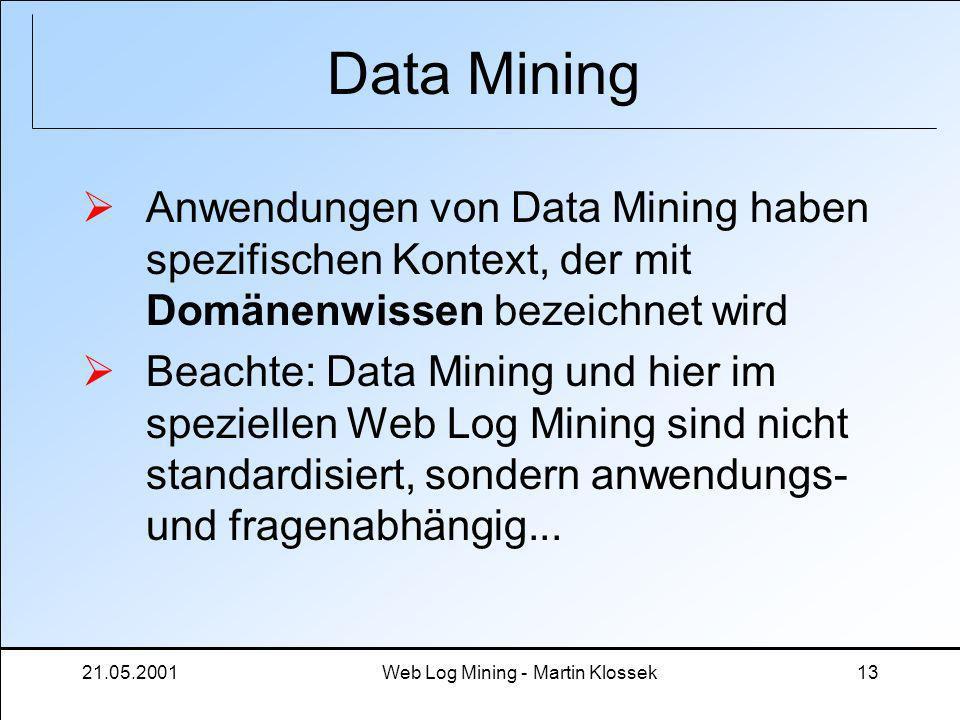 21.05.2001Web Log Mining - Martin Klossek13 Data Mining Anwendungen von Data Mining haben spezifischen Kontext, der mit Domänenwissen bezeichnet wird