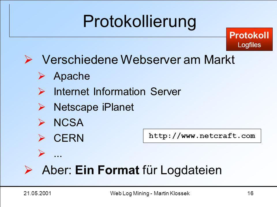 21.05.2001Web Log Mining - Martin Klossek16 Protokollierung Verschiedene Webserver am Markt Apache Internet Information Server Netscape iPlanet NCSA C