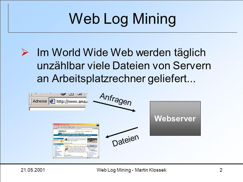 21.05.2001Web Log Mining - Martin Klossek2 Web Log Mining Im World Wide Web werden täglich unzählbar viele Dateien von Servern an Arbeitsplatzrechner