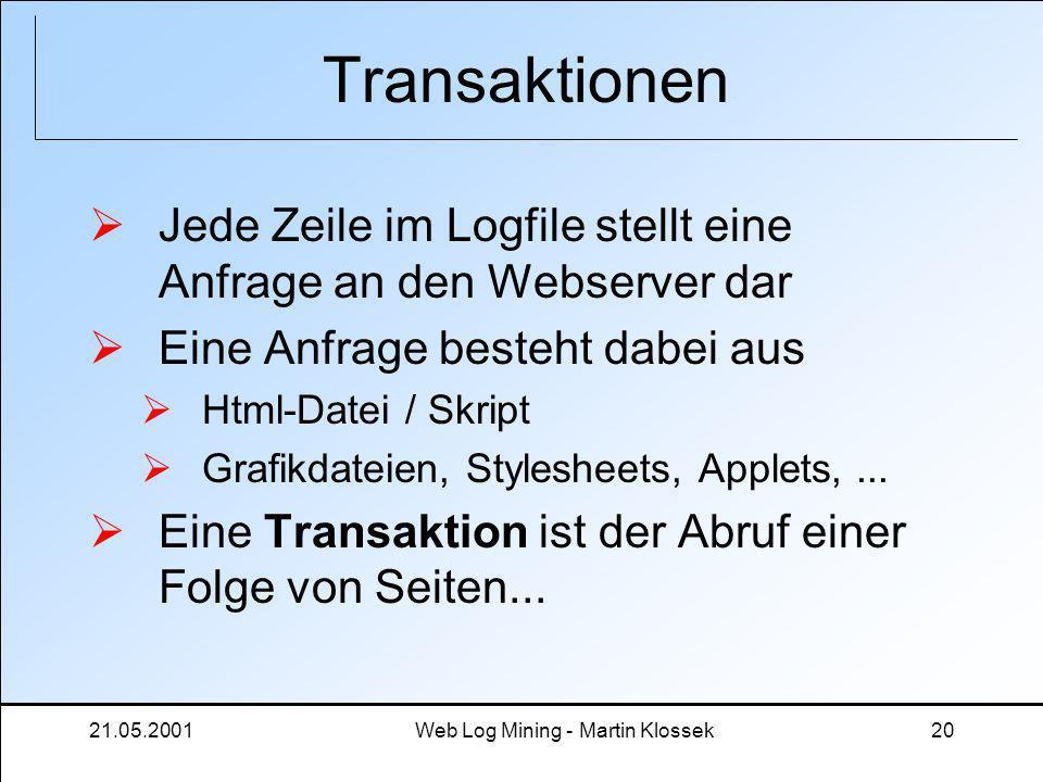 21.05.2001Web Log Mining - Martin Klossek20 Transaktionen Jede Zeile im Logfile stellt eine Anfrage an den Webserver dar Eine Anfrage besteht dabei au