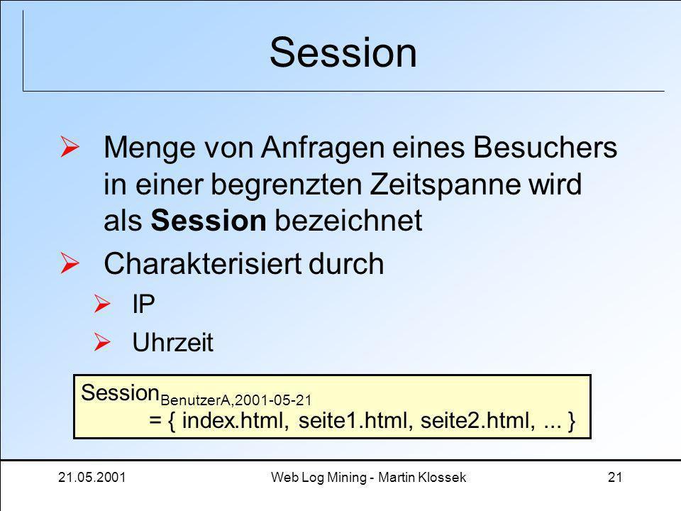 21.05.2001Web Log Mining - Martin Klossek21 Session Menge von Anfragen eines Besuchers in einer begrenzten Zeitspanne wird als Session bezeichnet Char